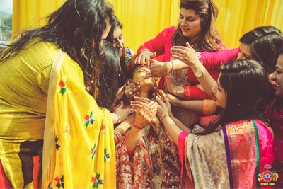 ceremonial wedding photography of the haldi function at Bella Vista, Chandigarh