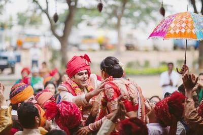 Fun and colorful Varmala ceremony.