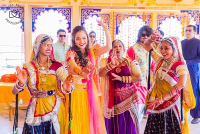 Rajasthani dance performance for the mehendi ceremony held at Chunda palace.