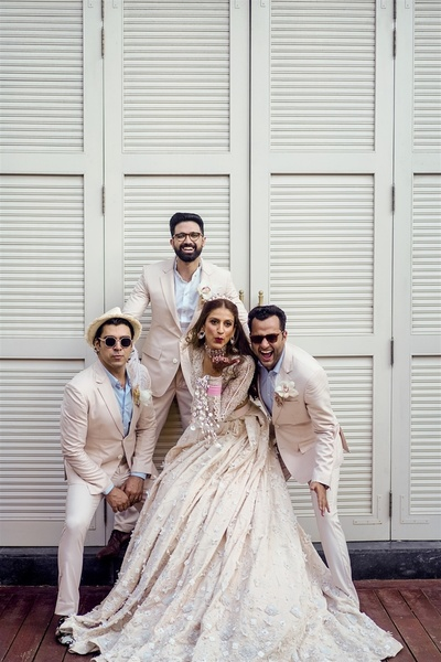 The bride's tribe flaunting their quirky side