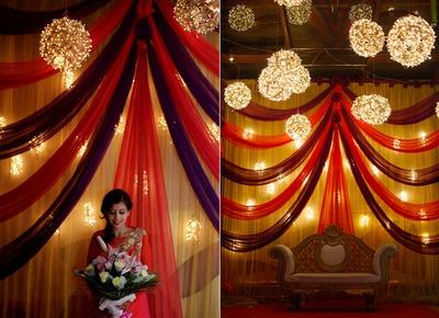 Bride enters the engagement ceremony.