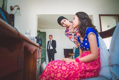 Dayoung getting ready for the gurudwara wedding