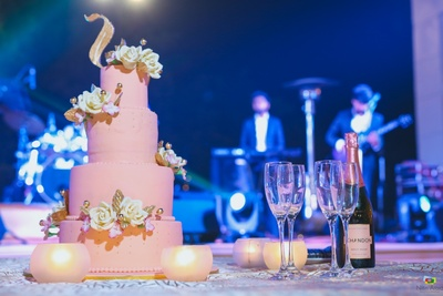 The blush pink coloured engagement cake