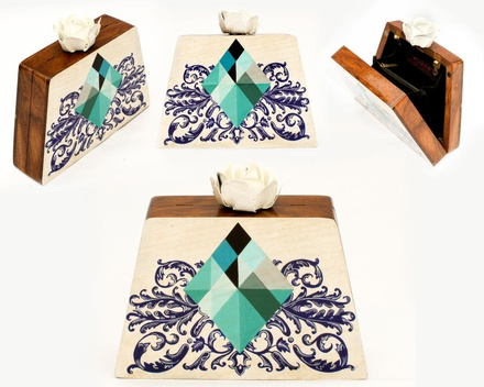 Prism hand painted wooden box clutch