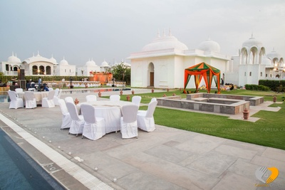 Outdoor seating arrangement and cabana setup for pre wedding celebrations