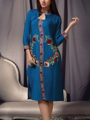 Viva N Diva blue colored viscose rayon kurti.
