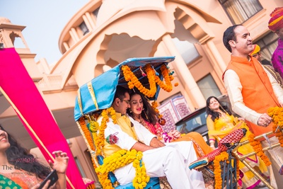 Rikshaw decorated with flowers genda for couple entry