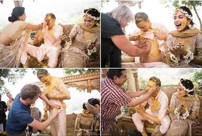 fun click haldi ceremony for the bride and groom