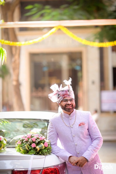 Groom getting ready for his baraat to leave for Sahara Star, Mumbai