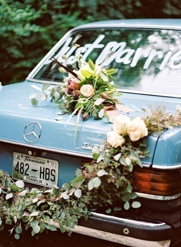 Unique Rear Wedding Car Decoration Ideas