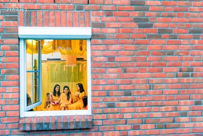 Haldi ceremony held at home in Hamburg.