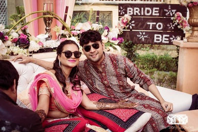 it's a shady affair at this outdoor mehndi ceremony!