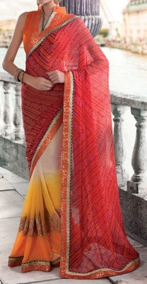 Variation Red Georgette Printed Saree