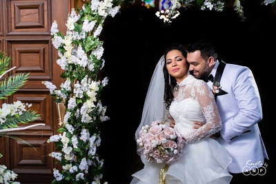a lovely picture of the couple after the wedding ceremony