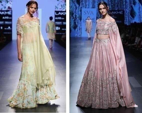 2. Pastels are in. Green is THE colour with shades of pink along with neutral tones of khaki and gold to balance it out. If red is used, modern silhouettes go along with it.