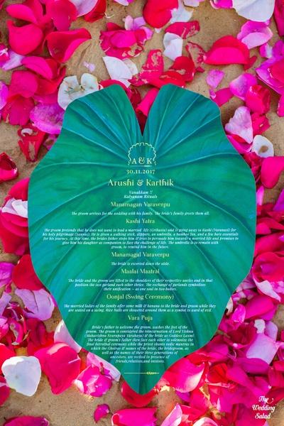 Arushi and Karthik's wedding invitation