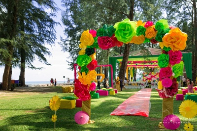very colorful and bright colors paper flower entrance gate
