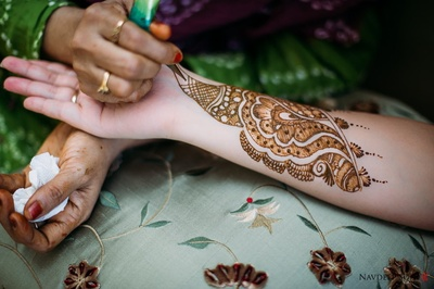 Bridal arms adorned with intricately patterned mehendi designs
