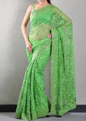 Green thread embroidered saree