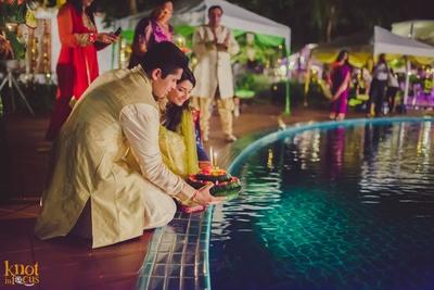 Performing pre wedding rituals at their grand wedding venue- Sofitel, Krabi