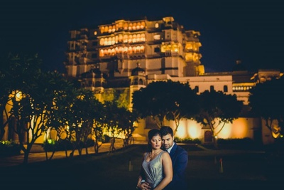 Regal shot of the Devi Garh Palace in the couple's pre wedding shoot