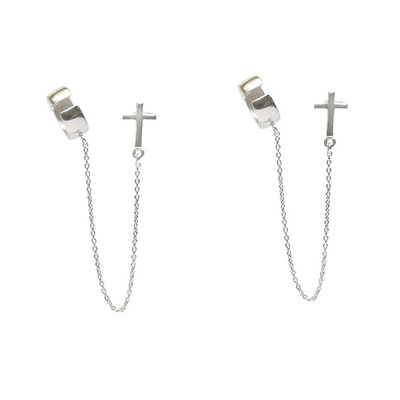 LeCalla Cross Motif Earcuff Chain Earrings