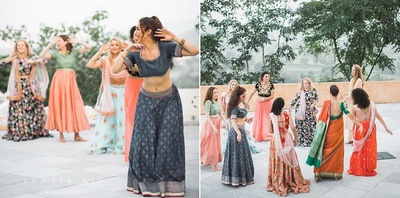 bridemaids dance for the wedding ceremony