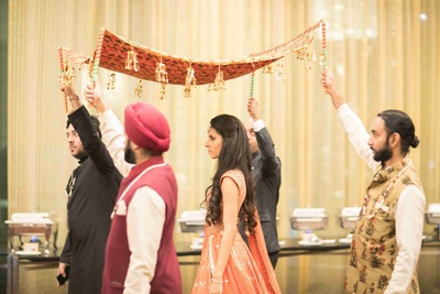 Naina's entry under a simple chadar at her wedding