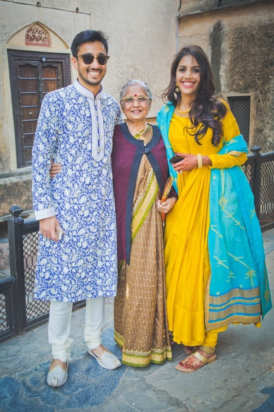 Priyanka and Neil posing with their grand mother, a moment turned into a lifelong memory