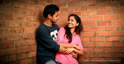 Couple sporting casual attire at their post-wedding photoshoot