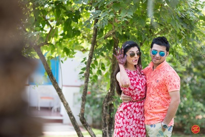 pre wedding morning shoot in bright outfits