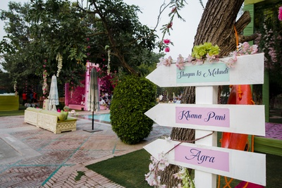 A super funky and vibrant signage for the mehendi ceremony!
