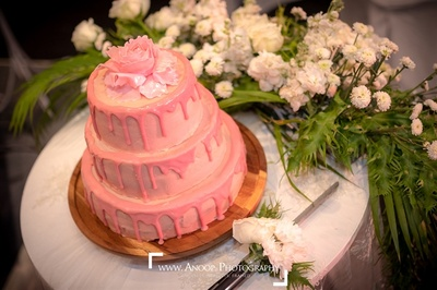 Pretty candy pink frosting cake