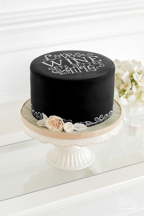 One tier of chalkboard wedding cake, can also make a great impact!