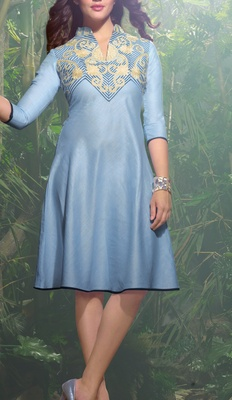Viva N Diva Sky Blue color Linen Kurti.