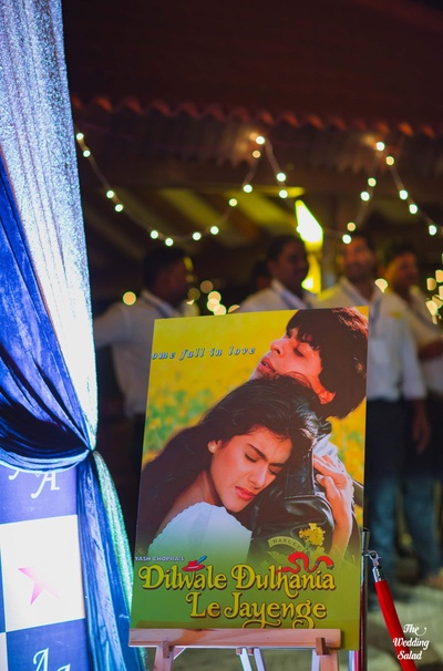 Bollywood themed decor and signage for the sangeet ceremony