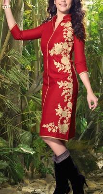 Viva N Diva Red color Linen Kurti.