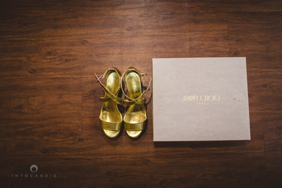 Gold wedding strappy shoes by Jimmy Choo
