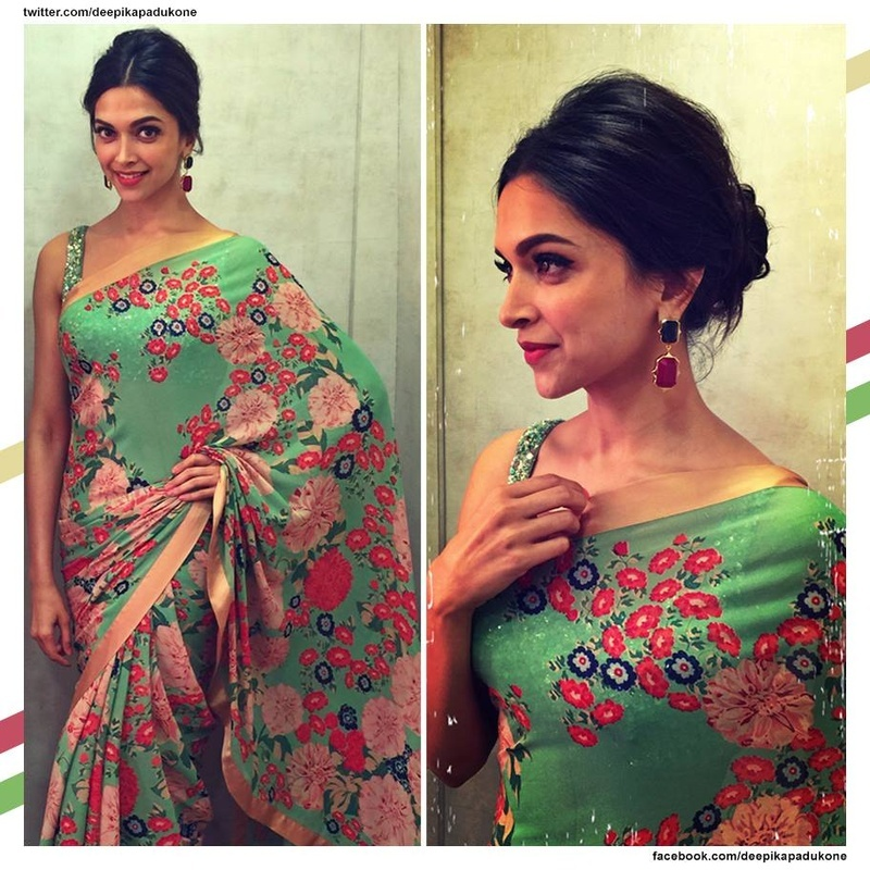 9. Go retro with this leaf green saree and complete it with a retro bun!