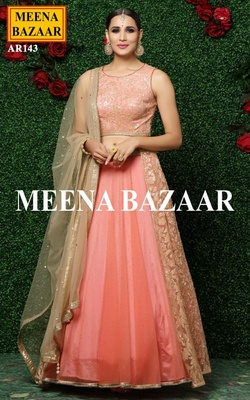 Meena Bazaar Peach Embroidered Lehenga