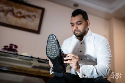 the groom's shoes had a special message written by his bride
