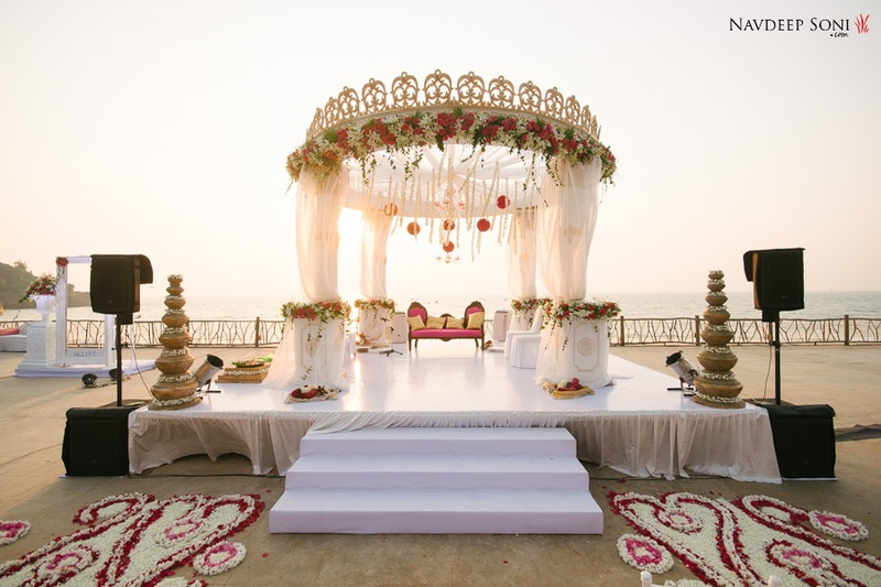 Beautiful beach cross cultural wedding held at taj holiday village view image 3 wedding mandap mandap decoration junglespirit Gallery