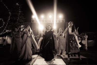 Dance performance by bridesmaids at the sangeet ceremony held at Treehouse resorts, Neemrana.