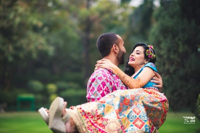cute couple shot during the mehndi ceremony