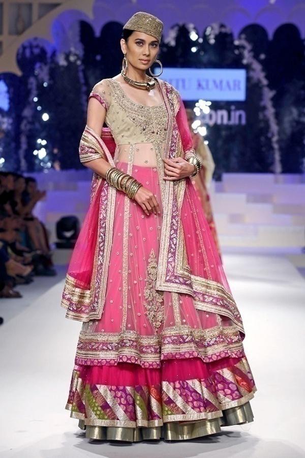 Layered net bridal lehenga from the house of Ritu Kumar