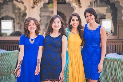 Pretty bridesmaids dressed to the blue theme for the pre wedding mehendi ceremony
