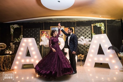 Bride and groom at their cocktail night at Hotel Renaissance, Lucknow