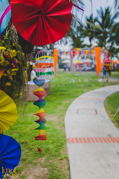 Pool party with quirky decoration. Cages, strings and paper fans adorned at Sofitel, Krabi