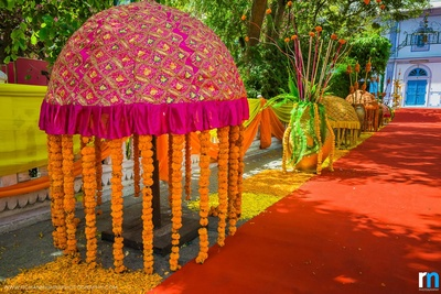 Pink canopy decorated with Marigold strings