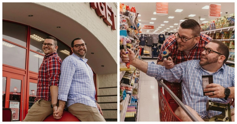 This gay couple chose their local store over exotic locales for their photo shoot